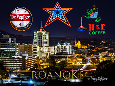 Roanoke Night Collage One By Terry Aldhizer
