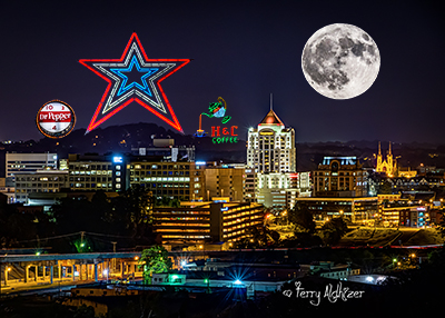 Roanoke Night Moon Collage by Terry Aldhizer