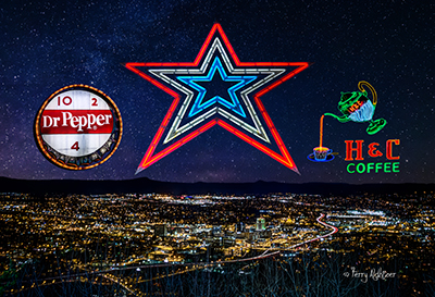 Roanoke Night Stars Collage By Terry Aldhizer