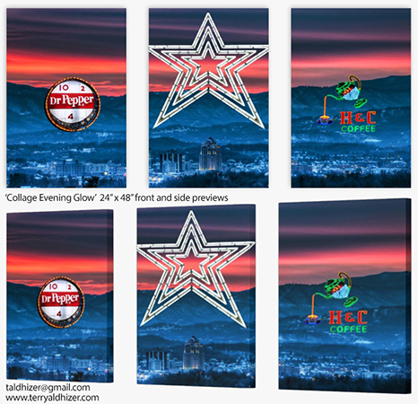 Collage Evening Glow tri panel preview